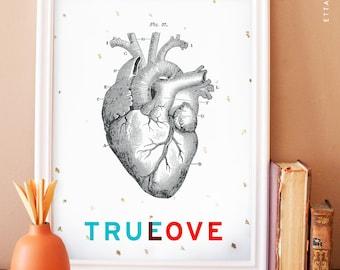 Vintage heart illustration art print. anatomy art print. true love art print. home decor
