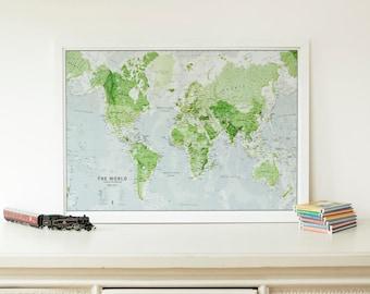 Children's Glow in the Dark World Map - Paper
