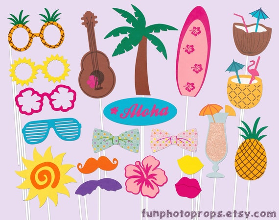 Items similar to Luau Party Photobooth Props - 19 Piece ...