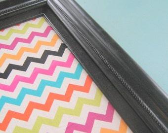 Chevron Bulletin Board Fabric Pin Board Ready to Ship Thick Black Frame Office Cork Board Kitchen Organizer