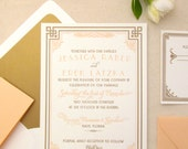 The Daisy Suite - Letterpress Wedding Invitation Sample - Art Deco, Gatsby, Formal, Roaring Twenties, Peach, Gold, Orange, White, Bling