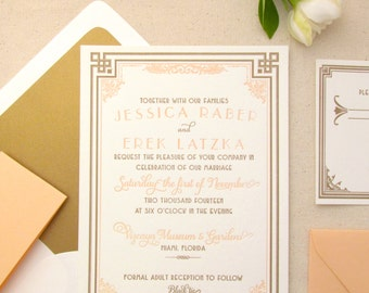 The Daisy Suite - Letterpress Wedding Invitation Sample - Art Deco, Gatsby, Formal, Roaring Twenties, Peach, Gold, Orange, White, Bling