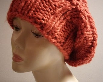 ONLY ONE Winter Knit Slouchy Hat in Burnt Orange