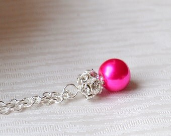 Fuchsia weddings Bridesmaids jewelry - hot pink necklace Fuchsia pink jewelry with rhinestones Bridesmaids jewelry Flower girl jewely