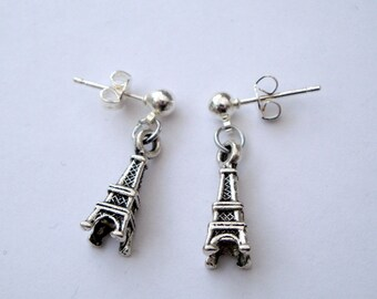 Eiffel Tower earrings stud antique silver vintage inspired little Paris charm