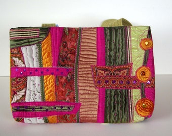 Unique handcrafted bag using recycled fabrics