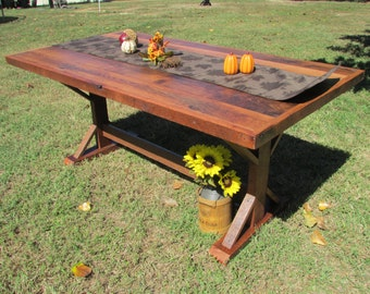 6 farmhouse kitchen table solid oak table solid oak barn wood reclaimed - Barnwood Kitchen Table