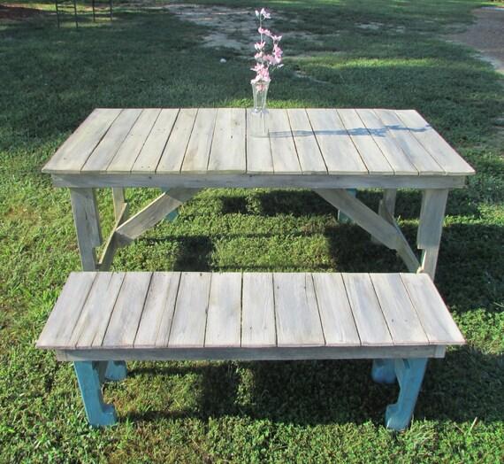 Kitchen Table Picnic Style: Shabby Chic Kitchen Table & Bench Set Coastal Cottage Picnic