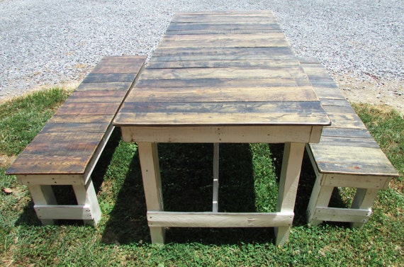 diy kitchen picnic table indoor small french country cottage dining bench set serene village shabby chic farmhouse
