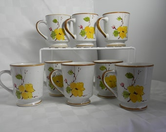EIGHT COFFEE MUGS Vintage Set of 8 Stonecrest Light Cream with Floral Design 8 Ounces