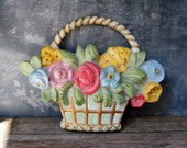 Vintage Flower Basket Chalkware Wall Plaque: 1950's Flower Basket Chalk Ware