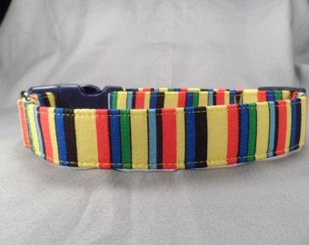 Bold Color Stripe Dog Collar