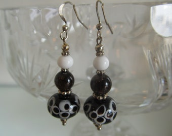 Handmade For You Black and White Polka Dot Lampwork Bead Czech Glass French Hook Earrings