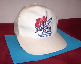 SUPERBOWL XXI CAP Embroidered Front Pasadena 1987 Rose Bowl