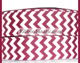 "5 yds 1.5"" Maroon and White Chevron Striped Grosgrain Ribbon Texas A & M"