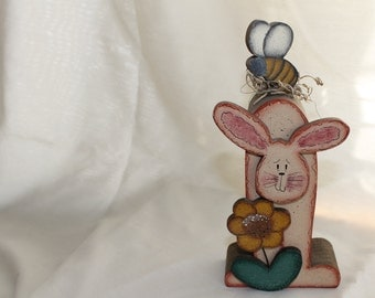 Wooden Easter Rabbit Decoration