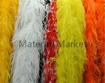 2 pcs 2meters WHITE black orange hot pink light pink purple royal blue turquoise red lime green Ostrich Feather Boa for decor