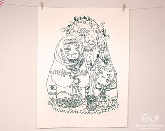 SALES Matriochkas: grand mother and little girl knitting together - Handmade Serigraphy A3, Limited Edition