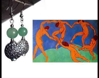 MATISSE - Green jade dangling earrings, handmade