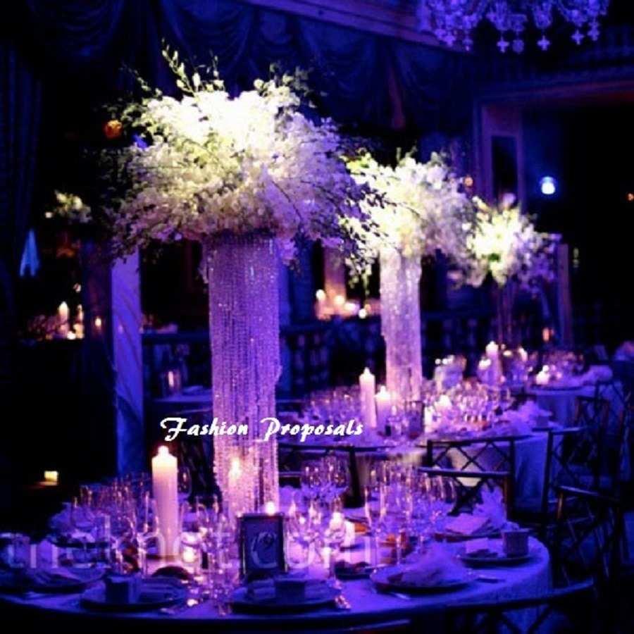 Wedding Vases For Sale: Table Top Chandelier Centerpiece Swirl Cascade By