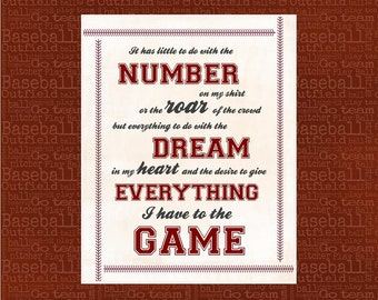 Sports Quote Printable - Baseball Quote - Man Cave Decor - 8x10