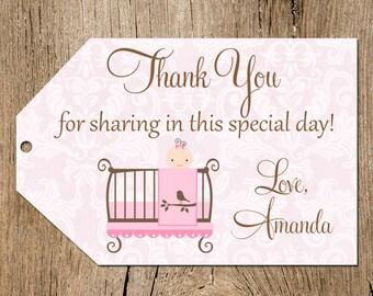 Pink and Brown Baby Shower Favor Tags, Baby Girl Crib Favor Tags, Printable