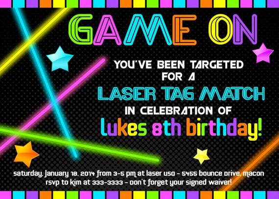 Laser Tag Birthday Invitation Neon Glow in the by ...
