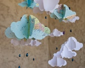 Rain Cloud Mobile with Map Paper