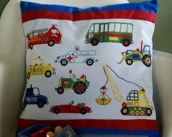 kid's, children cushion cover boys: cars, ambulance, bus, dragliner