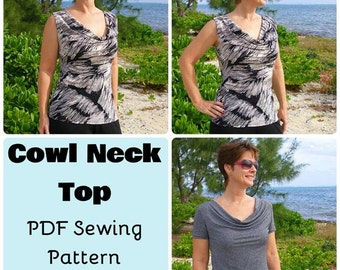 Cowl Neck Top  - PDF Sewing  pattern