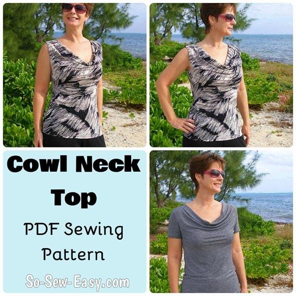 Cowl Neckline Wedding Gown Pattern: Cowl Neck Top PDF Sewing Pattern