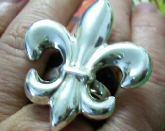 Huge Sterling Silver Statement  Fleur De Lis Ring