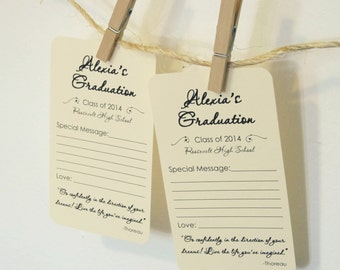 Set of 12 Graduation Wishes Advice Cards Tags for Graduation Party with Thoreau Inspirational Quote