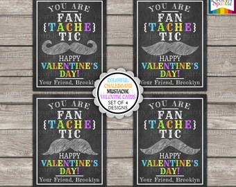 Valentines Day Printable Cards - Colorful Chalkboard Mustache Kids Personalized Digital file