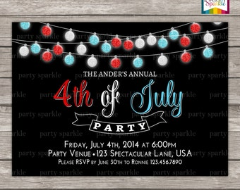 4th of July Party Invite - Red White and Blue Glitter Bulbs Personalized Digital Custom Party Invitation 4x6 or 5x7 jpg or pdf