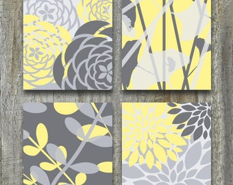 Yellow and Gray Art Print Set of Four Flowers and Botanical, Bedroom Art Prints Size 5x7 to 16x20 Inch