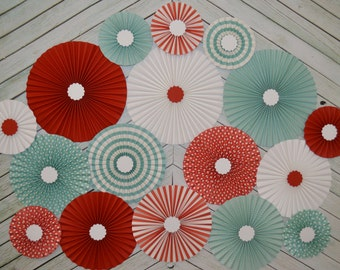 Vintage Circus Inspired Set of Seventeen (17)    Paper Rosettes, Paper Fans Backdrop