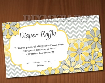 dFlower Baby Shower Diaper Raffle Ticket Diaper Raffle Cards Diapers Raffles Baby Shower Games Printable Digital Files printable party decor