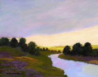 Canvas print 16x20 landscape, rivers, valley light, stream, streams, mountain scenic, lavender, yellow, trees and hills, dark clouds,