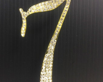 Rhinestone Gold  NUMBER (7) Cake Topper 7th Birthday Parties FREE SHIPPING