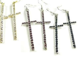 15% discount,Fashion earrings/cross rhinestone/ long dangle, 3 COLORS available.black, purple and white /cheap/affordable/ discount/big sale