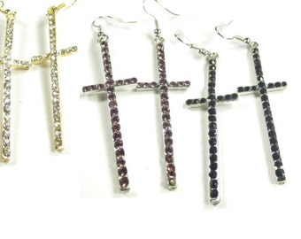 25% discount,Fashion earrings/cross rhinestone/ long dangle, 3 COLORS available.black, purple and white /cheap/affordable/ discount/big sale