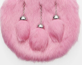 RABBIT SPORRAN-Pink.   Made to order with any cantle from our range