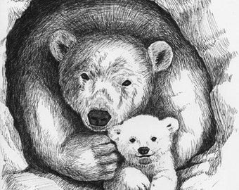 Pen and Ink drawing of mama and baby polar bears - Print
