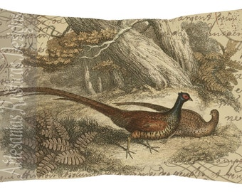 French Pillow 100% Cotton Canvas and Burlap Pheasants and French Script Lumbar Pillow Cover