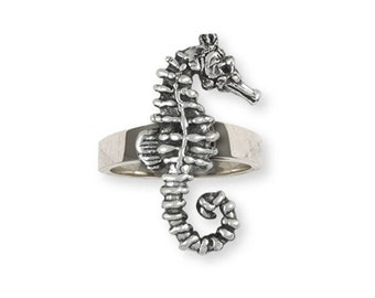 Solid Sterling Silver Seahorse Ring SE2-R