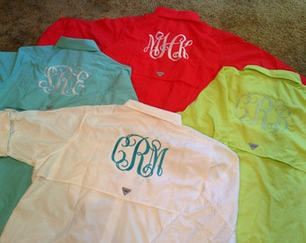 Items similar to women 39 s monogrammed super bonehead for Custom embroidered columbia fishing shirts