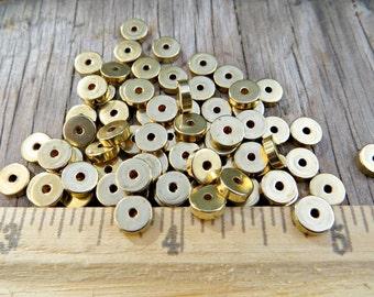 Solid Brass Heishi 6mm x 2mm (100 pcs)