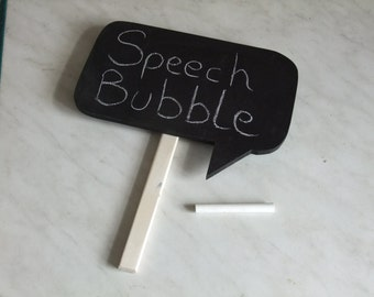Chalkboard speech bubble with handle for party, celebration, wedding fun, fancy dress.