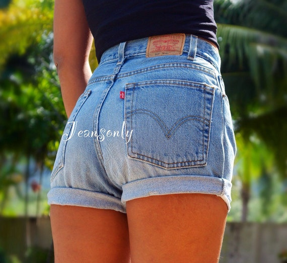 LEVIS HIGH WAISTED JEANS SHORTS LEVIS CUTOFFS HIGH RISE DENIM ...